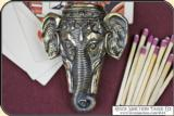 Elephant head Figural match safe or Match Vesta plus box of matches. - 2 of 9