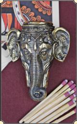 Elephant head Figural match safe or Match Vesta plus box of matches.