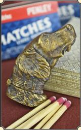 Brass Dog head Figural match safe