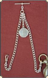 SILVER PLATED Albert Watch chain