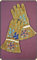 Buckskin brain tanned Gauntlet Gloves