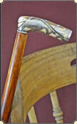 Ivory and silver art nouveau cane
