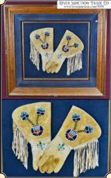Framed Beaded Buckskin brain tanned Gauntlet Gloves - 1 of 15