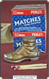 Old Boot Figural match safe or Match Vesta plus 10 pack of vest pocket matches.
