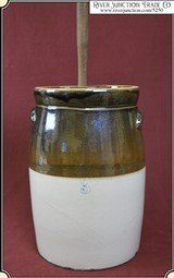 Two Tone Salt Glazed Stoneware Pottery Butter Churn - 1 of 8