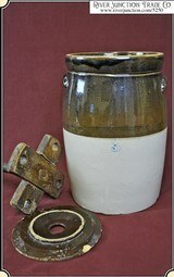 Two Tone Salt Glazed Stoneware Pottery Butter Churn - 4 of 8
