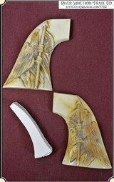 Grips ~ American Eagle 1860 Army 1872 Colt, Uberti, Pietta & 1873 El Patron Grizzly Paw - Antique Ivory grip RJT#5302