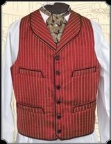 Vest - All Silk Round Lapel Cranberry Red Vest Heirloom Brand RJT#5374 - $209.95 - 2 of 3