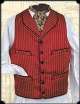 Vest - All Silk Round Lapel Cranberry Red Vest Heirloom Brand RJT#5374 - $209.95