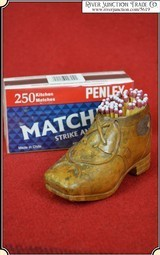 Antique Hand carved shoe & 1 box STRIKE ANYWHERE Matches