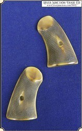 Grips ~ Schofield Checkered Grip Old Ivory Heavy Antique RJT#5892