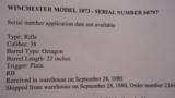RARE WINCHESTER 1873 SHORT RIFLE - 10 of 13