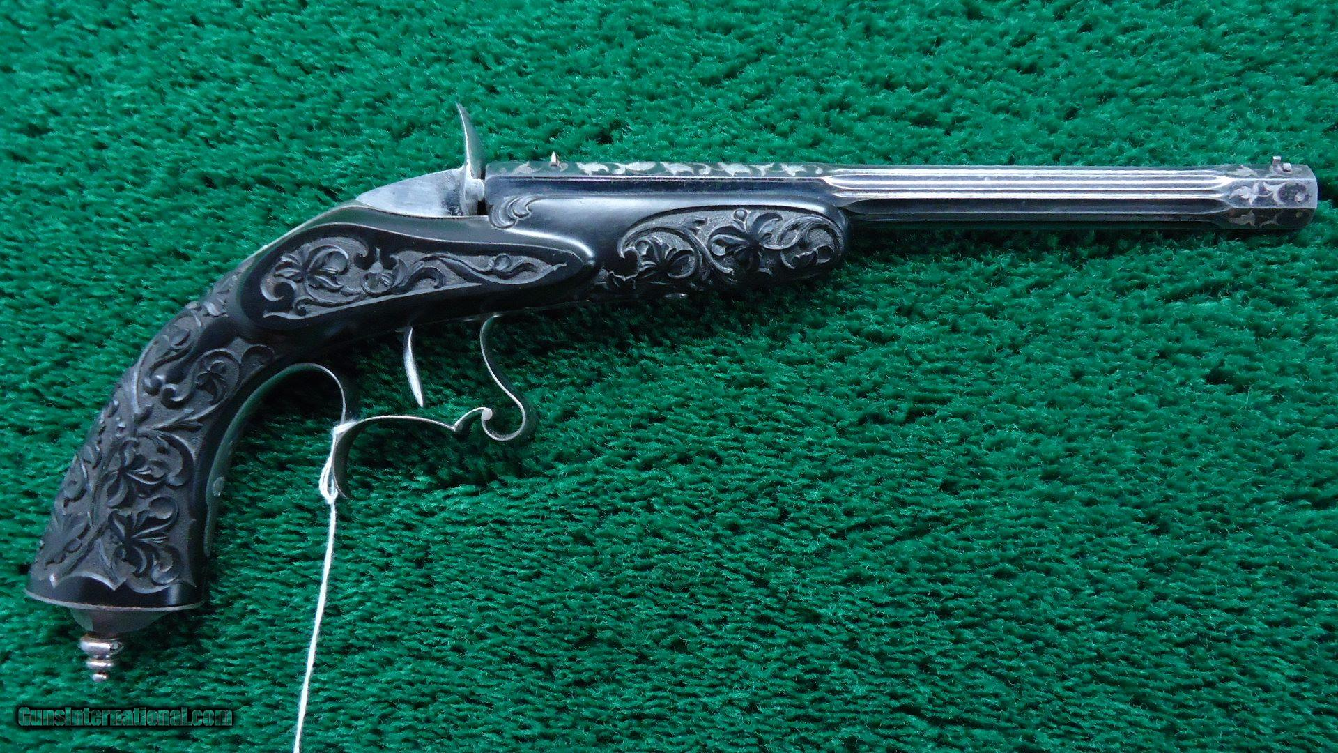 CASED DELUXE CARVED FRENCH TARGET PISTOL WITH FLOBERT STYLE ACTION