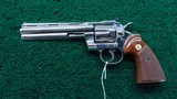 NICKEL FINISH COLT PYTHON 357 REVOLVER - 2 of 15