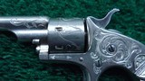FACTORY ENGRAVED CASED COLT OPEN TOP 22 CALIBER REVOLVER - 7 of 19