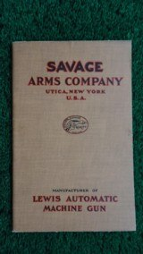 SAVAGE ARMS CO. LEWIS AUTOMATIC MACHINE GUN BOOKLET