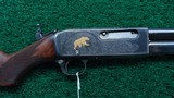 REMINGTON MODEL 14 FACTORY ENGRAVED GOLD INLAID RIFLE IN CALIBER 35 REMINGTON