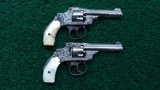 PAIR OF ENGRAVED NICKEL FINISH SMITH & WESSON 32 SAFETY