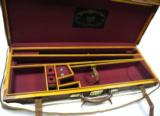 LEATHER GUN CASE FOR 2 BARREL SET SIDE BY SIDE PLUS CANVAS COVER