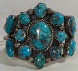 Silver 13 Stone Turquoise Bracelet