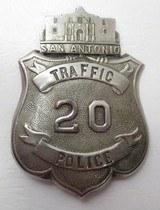 S.A.P.D. Traffic Police #20 Badge – Eagle/Alamo Top