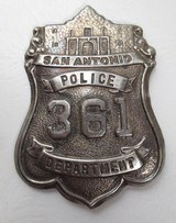 San Antonio Police Dept. #361 Badge - Alamo Top