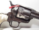 """COLORFUL COLT SAA 44-40 ETCH PANEL NICKEL REVOLVER from COLLECTING TEXAS – CARVED PEARL GRIPS – 7 1/2"""" BARREL - 3 of 18"""