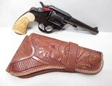 NICE EARLY COLT NEW SERVICE 44-40 REVOLVER from COLLECTING TEXAS – CARVED IVORY GRIPS with TOOLED HOLSTER