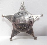 EXTREMELY RARE 5-POINT BALL STAR DETECTIVE BADGE from COLLECTING TEXAS – S.A.P.D BADGE with ORIGINAL FINGER PRINT CARD and MUG SHOTS - 1 of 6