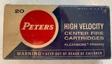 Peters 222 Remington 50 Grain Soft Point High Velocity - 1 box of 20 ( Box in Excellent Condition)