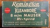 Remington 8 m/m Mauser 20 Center Fire 170 grain soft point