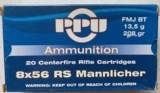 PPU 8x56 RS Mannlicher - 20 Centerfire 208 Grain