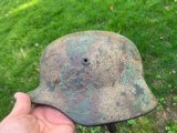 WWIII Normandy Tri Color German Camo Helmet Named M-1940