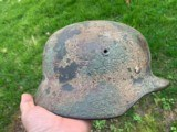 WWIII Normandy Tri Color German Camo Helmet Named M-1940 - 3 of 8