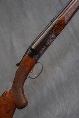 """WINCHESTER Model 21 Custom Built 20 gauge, 28"""" bbls. Vent Rib, 21-1 Engraving & Orig. Leather Covered Pad"""