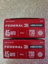 Federal 45acp 230 Grain FMJ Brass Box of (50) Rounds - 2 of 2