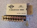 PPU 308 Win 7.62x51mm M80 145 Grain FMJ Brass Cased - 2 of 2