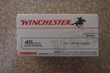 winchester 45 acp 230 grain fmj brass cased