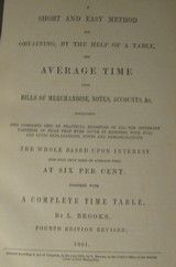 """1851 ACCOUNTANT'S PRIMER """"BROOKS AVERAGE TIME TABLES"""" - 3 of 3"""