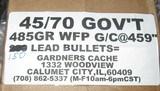 GARDNERS CACHE 485 GRAIN GAS CHECK .459 LEAD CAST 45-70 BULLETS