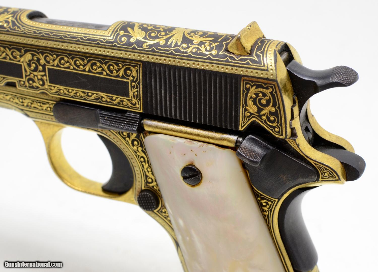 Colt 1911 45 ACP  Engraved And Damascened Gold On Black