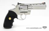 Colt Python .357 Mag. 4 inch. Bright Stainless Finish. Like New In Blue Case. - 3 of 8