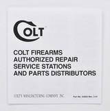 Colt D Frame Manual, Repair Stations List And Colt Letter. 1993 Colt Diamondback Detective Special Agent Police Positive Cobra Viper - 4 of 5