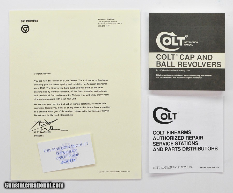 Colt Cap And Ball Revolvers Manual, Repair Stations List And