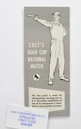 Colt Gold Cup National Match Manual And Warranty Form NM500 For Old Colt 2 Piece Boxes.