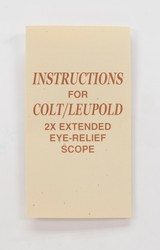Colt Python Hunter Vintage Colt/Leupold 2X Extended Eye-Relief Scope Instructions