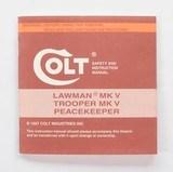 Colt Lawman MK V, Trooper MK V, Peacekeeper Manual, Repair Stations List, Colt Letter. 1987 - 2 of 5