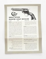 Colt Single Action Frontier Scout Revolver Instruction Manual. Form FS-1000 - 2 of 3