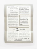 Colt Single Action Frontier Scout Revolver Instruction Manual. Form FS-1000 - 3 of 3