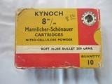 KYNOCH 8MM MANNLICHER-SCHONAUERAMMO BOX OF TEN